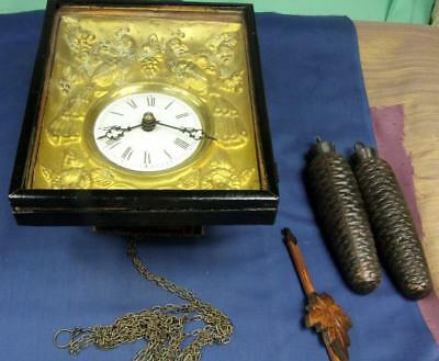 Xb 2. German Or English 8 Day 2 Weight, Wall Clock With Fancy Deeply Embossed Wi