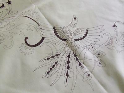To Be Hand Embroidered - Large Tablecloth with Lace Edging - Bird-of-Paradise