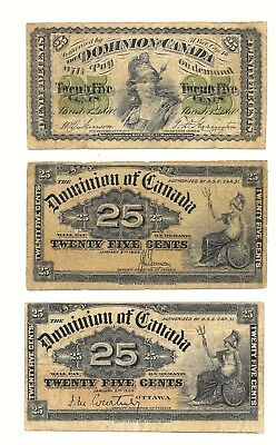 DOMINION OF CANADA = LOT OF 3 Different NOTES 1870, 1900 : 25 cents