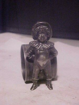"Vintage 3 1/4"" Rogers Smith Silverplate Victorian Boy Figural Napkin Ring Holder"