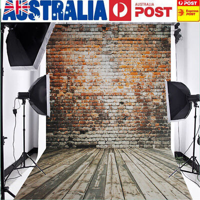AU 5x7FT Retro Brick Wall Wood Floor Photo Backdrop Photography Background Prop