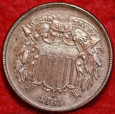 1865 Copper Philadelphia Mint Two Cent Coin Free Shipping
