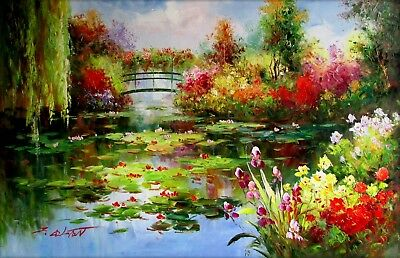 Claude Monet Garden at Giverny Repro 4, Hand Painted Oil Painting 24x36in