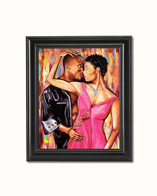 African American Black Couple A Rose with Love Wall Picture 8x10 Art Print