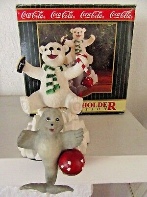 Coca Cola Collection Coke Bear and Seal Stocking Holder Large Hanger in Box