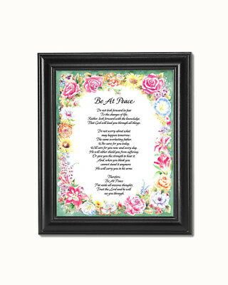 Be At Peace Christian Religious Poem with Flowers Wall Picture 8x10 Art Print