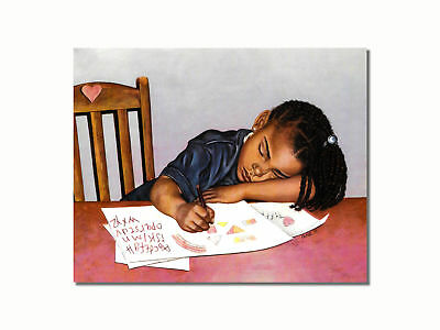 African American Black Girl at Table Doing Homework Wall Picture 8x10 Art Print