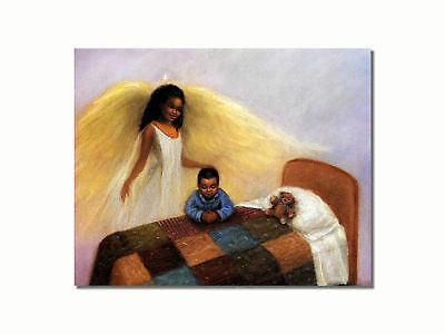 African American Black Guardian Angel Boy Praying Wall Picture 8x10 Art Print