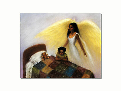 African American Black Guardian Angel Girl Praying Wall Picture 8x10 Art Print