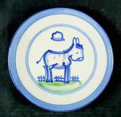 M A Hadley COUNTRY SCENE BLUE Donkey Salad Dessert Plate 5757489