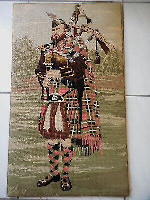Tapestry Craft  Picture Completed Kinetic Needlecraft Scottish Piper