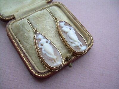 Antique Victorian Pair of 9ct Gold & Carved Natural Shell Cameo Large Earrings.