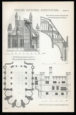 ENGLISH CATHEDRAL ARCHITECTURE 1883 Hampton Court Palace ANTIQUE LITHOGRAPH #4