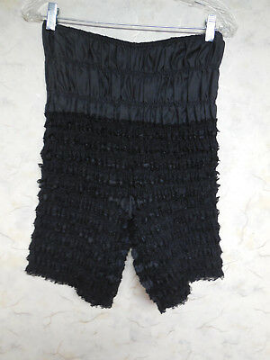 Frilly Black Ruffle Lacy Pettipants Square Dance Bloomers, Sam's 503, Sz Large