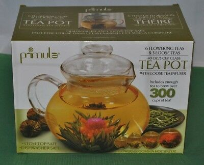 Primula 40-Ounce Glass Teapot with Infuser and Lid with 6 Flowering Teas NIB