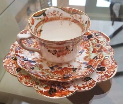 Lovely Trio of Windsor China. Cup, Saucer and Side plate Orange and gold floral