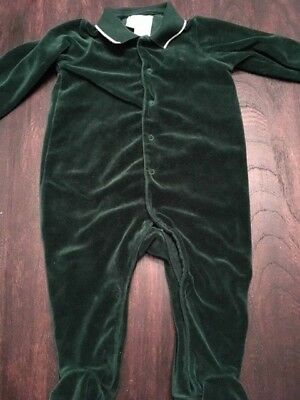 Gently used preowned Ralph Lauren Polo one piece velour set green 9 months