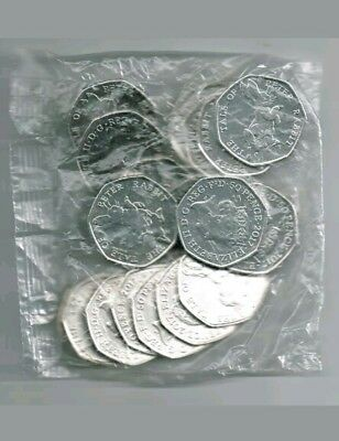 20 x Tale of Peter Rabbit 50p Coins 2017 Uncirculated Sealed Bag Beatrix Potter