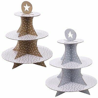 3 Tier Cardboard Christmas Cake Stand Cupcakes Decorations Baubles Canapés Party