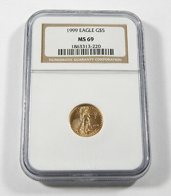 1999 American Gold Eagle $5 Gold 1/10oz Coin NGC MS 69