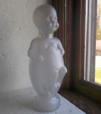 ANTIQUE FROSTED GLASS FIGURAL BOY IN EGG BON BON CHOCOLATE BOTTLE 1880s FRENCH