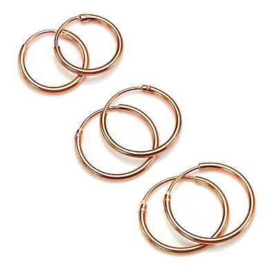 Rose Gold Dipped Sterling Silver Lightweight Sleeper Hoops 8mm - 35mm & Sets
