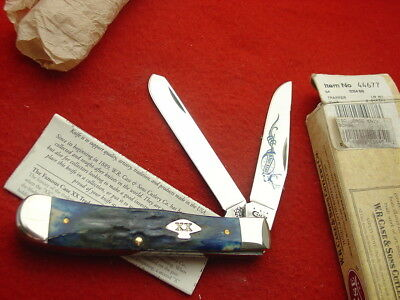"""Case XX USA 4-1/4"""" Blue Stag 5254 SS 9 Dot 2001 2 Blade Trapper Knife MINT"""