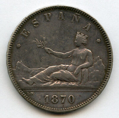 Spain 1870-Sn-M  5 Pesetas Silver Crown,nice Old Toning Choice Vf/xf.