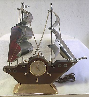 """GIBRALTAR"" CLOCK-NAUTICAL-40's--ELECTRIC-15"" TALL-KEEPS GOOD TIME-GREAT PATINA"