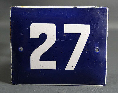 Wwii German Door House Street Porcelain Enamel Tin Sign Plate Plaque Number ~#27