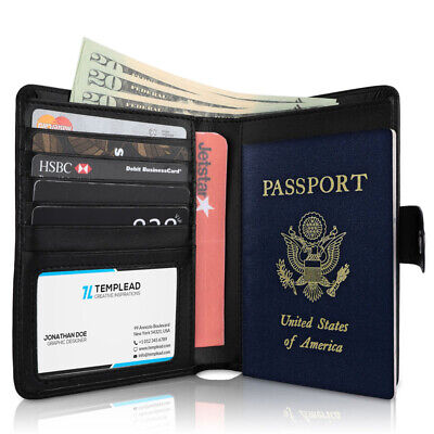 RFID Blocking Genuine Leather 9 Slot Passport Card Holder Wallet Cover