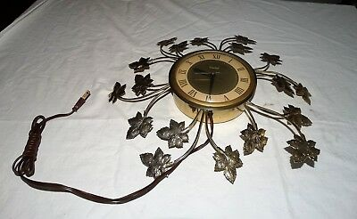 Vintage United Clock Corp. Wall Clock With Metal Flowers