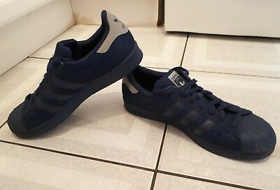 Mens Adidas Superstar Trainers. Navy Syntnetic. Size Uk 10. Eur 44 2/3.