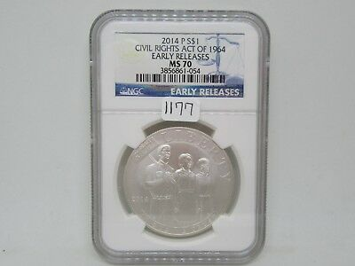 2014-P Civil Rights Act of 1964 Silver Dollar Coin - NGC Early Releases - MS70