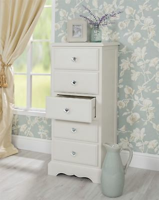Romance Tallboy. White narrow chest with 5 drawers and crystal handles.ASSEMBLED
