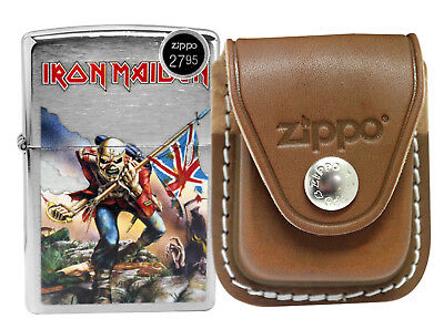 Zippo 29432 Brushed Chrome Lighter + LPCB Brown Leather Pouch Clip