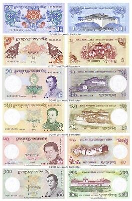 Bhutan 1 + 5 + 10 + 20 + 50 + 100 Ngultrum 2011 - 2015 Set of 6 Banknotes UNC