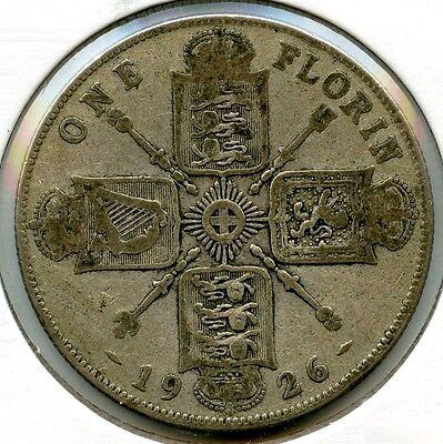 Great Britain 1926 Silver Coin - One Florin - King George V - AF717