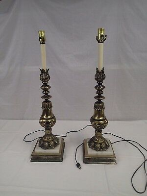 Pair 2 tall brass Table Lamps  Hollywood Regency mid-century Vintage matching