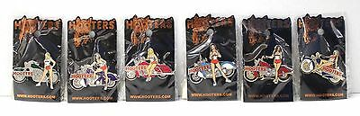 Hooters Sexy Biker Girl Motorcycle Bike Lapel Hat Badge Pin - Lot Of 6