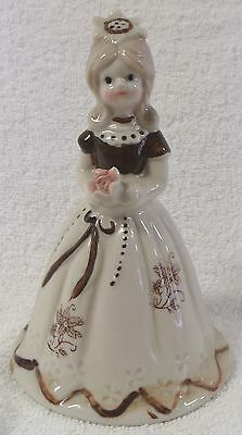 """Vintage Bells--Victorian Miss Ceramic Bell--5 1/2"""" Tall--Very Nice--Great Patina"""