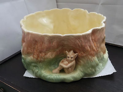 Large Sylvac Centrepiece/ Fruit Bowl  As A Log With 2 Rabbits & A Pixie  No 1514