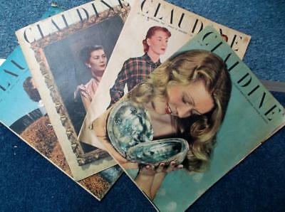 Lot of 4 French fashion sewing clothes knitting adverts vintage 1940s magazines
