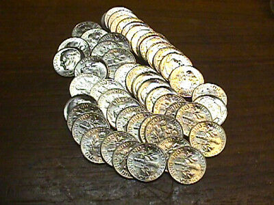 Roll Of Brilliant Uncirculated 1964-D Roosevelt Dimes. Free Shipping.
