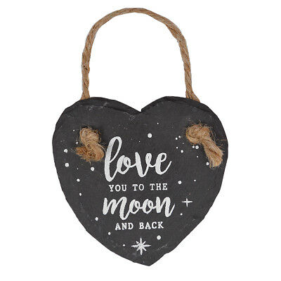 Love You To the Moon & Back Mini Heart Shaped Hanging Slate Plaque With Rope
