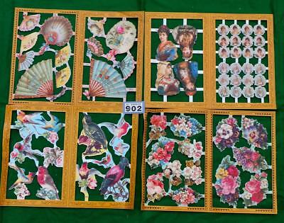 LV902 Mamelok Victorian Scraps Flowers Birds Ladies 4  sheets FREE UK shipping