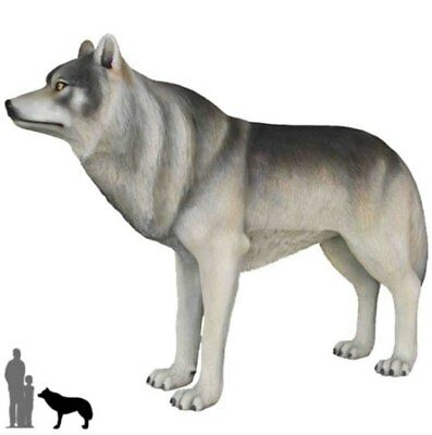 Wolf Standing Life Size Resin Statue Wild Animal Theme Decor Prop Display