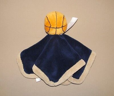 Babies R Us Navy Blue Tan Basketball Security Blanket Lovey Ball Plush Boys Toy