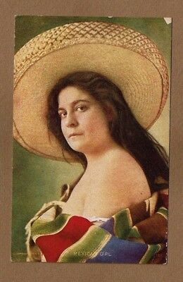 Mexican Girl, lady with large sombrero used 1909