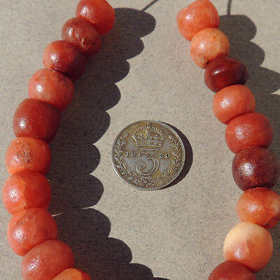 22 ancient calcite agate stone beads mali #3945